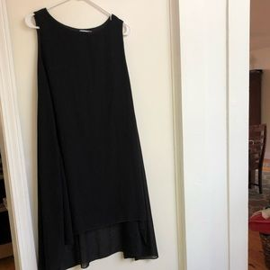 Lined black A-line flowy sleeveless dress